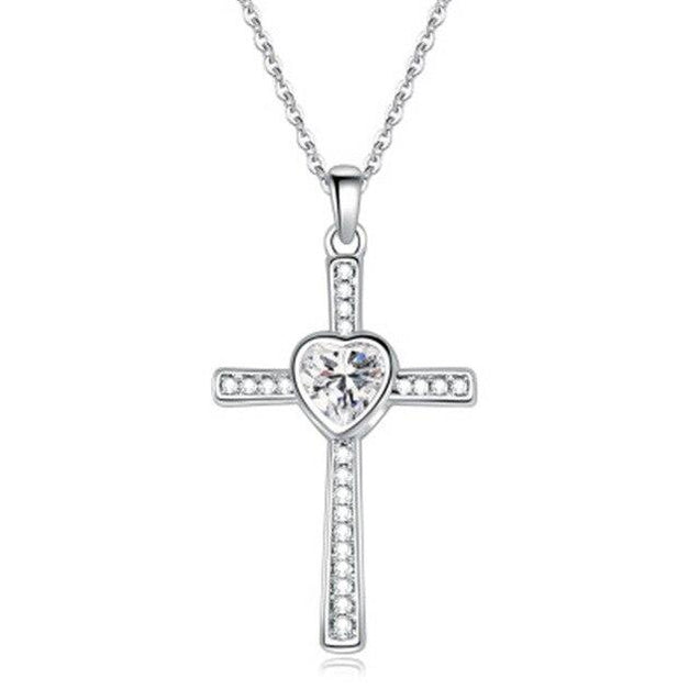 Bejeweled Crystal Titanium Steel Heart Cross Pendant Necklace - InnovatoDesign