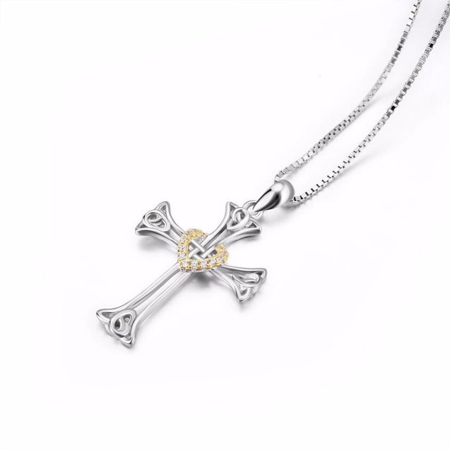 925 Sterling Silver Knot Heart Cross Pendant with Golden Crystal Sheath - InnovatoDesign