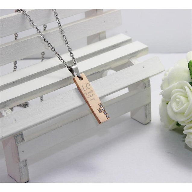 Rose Gold and Black Titanium Couple Cross Pendant Necklaces - InnovatoDesign