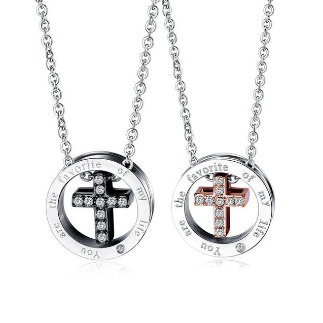 "Silver Couple Cross Pendant with Crystals Engraved Message ""You are The Favorite of My Life"" - InnovatoDesign"