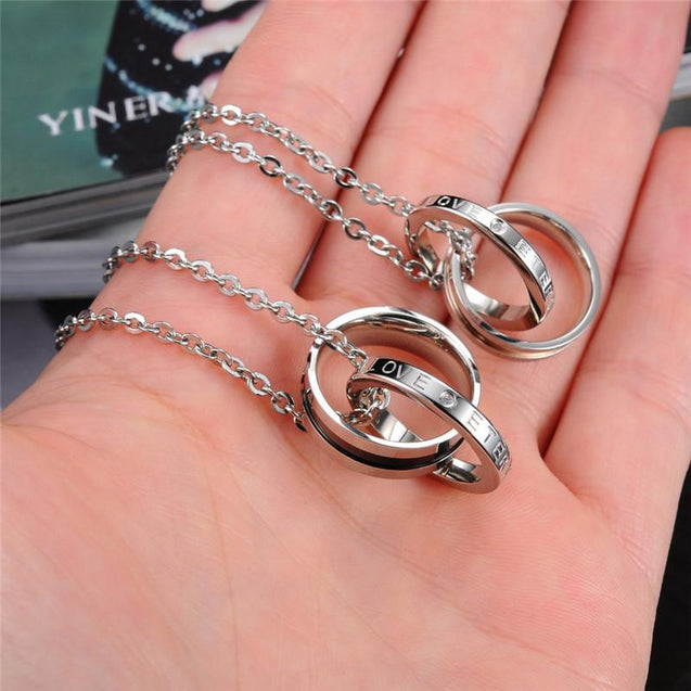 Two-tone Double Lock Couple Ring Pendant Chain Necklace - InnovatoDesign