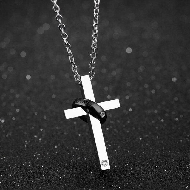 Silver Couple Ring with Zirconia and Cross Pendant Chain Necklace - InnovatoDesign