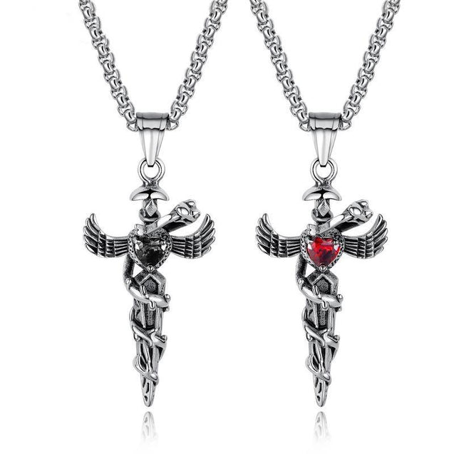Steel Winged Crystal Heart Cross with Snake Accent Pendant Necklace - InnovatoDesign