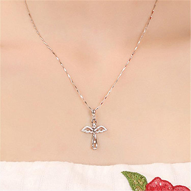 Silver Winged Angel Cross Pendant with Crystals Necklace - InnovatoDesign