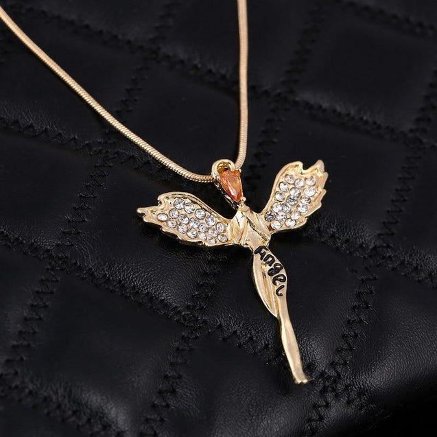 Angel Wings Pendant Necklace with Lettering Pendant - InnovatoDesign