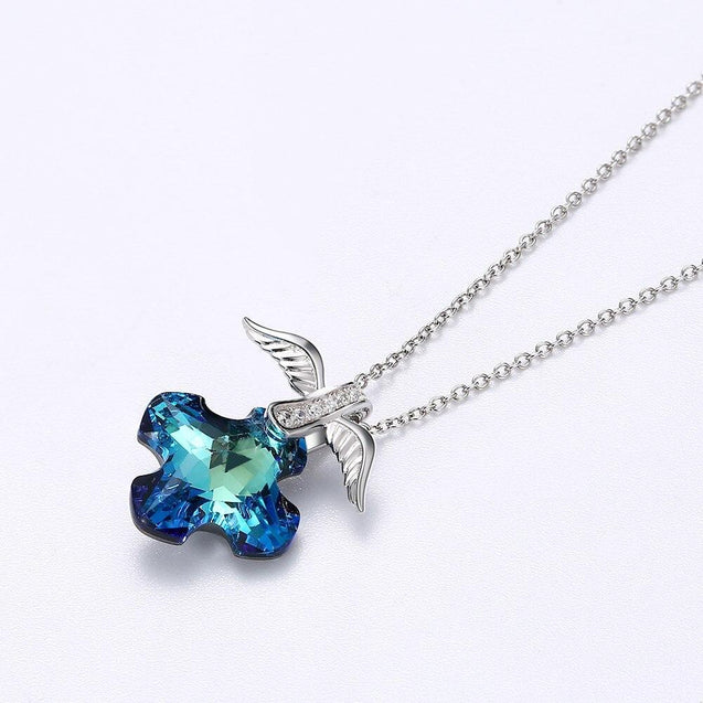 Necklace with Blue Sapphire Crystal Cross with Silver Wings - InnovatoDesign