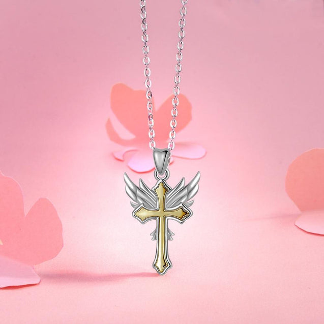 Two-Tone Silver and Gold Angel Wing Cross Pendant Necklace - InnovatoDesign