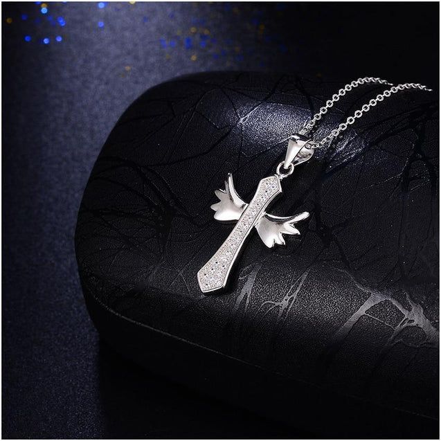 Sterling Silver Winged Cross with Cubic Zirconia Crystals Necklace - InnovatoDesign