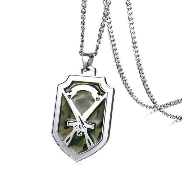 Silver Shield Pendant with Camouflage Inlay and Gun Design Necklace - InnovatoDesign