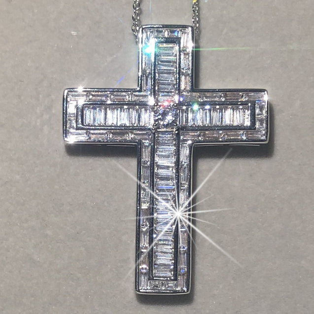 Bejeweled Box Crystal Silver Cross Pendant Necklace - InnovatoDesign