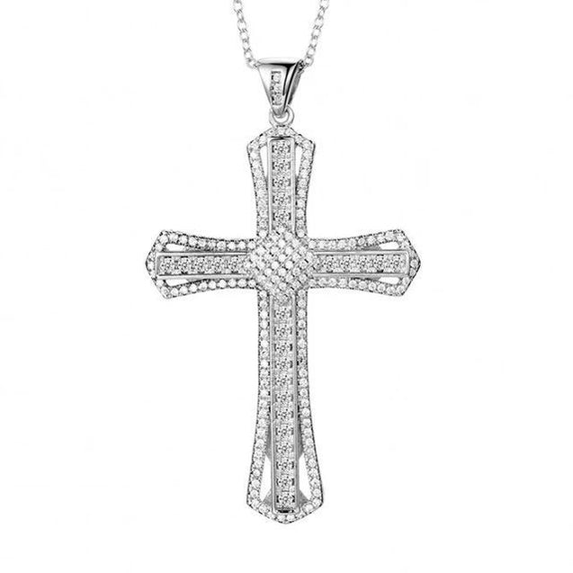 Sterling Silver Full Crystal Cross Pendant Necklace - InnovatoDesign