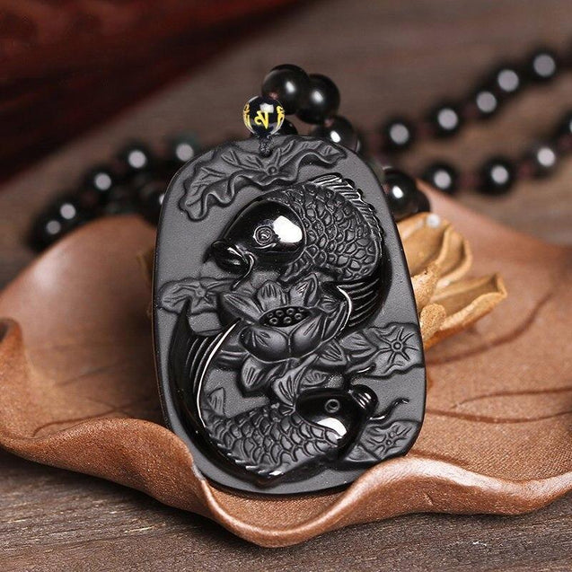 Black Obsidian Koi Fish and Lotus Pendant Necklace