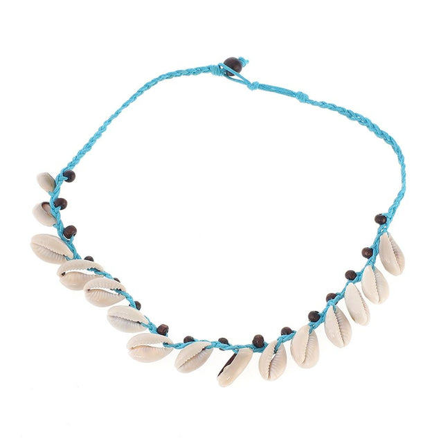 Sky Blue Knotted Rope and White Puka Shell Necklace - InnovatoDesign