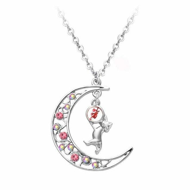 Silver Crystal Crescent Moon Cat Pendant Necklace - InnovatoDesign