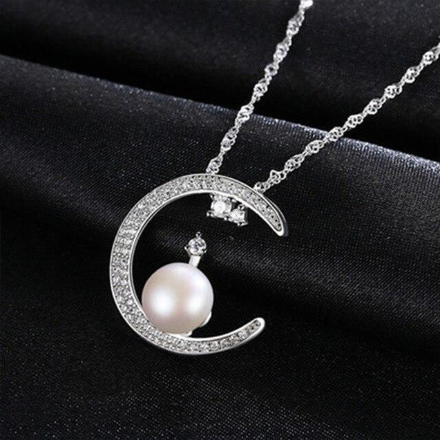 925 Sterling Silver Crescent Moon Pendant Necklace with White Pearl