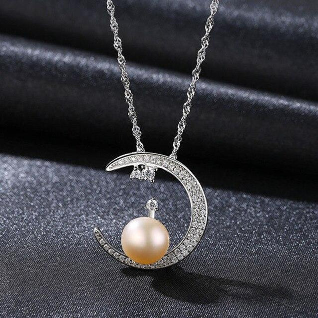 925 Sterling Silver Crescent Moon Pendant Necklace with White Pearl - InnovatoDesign