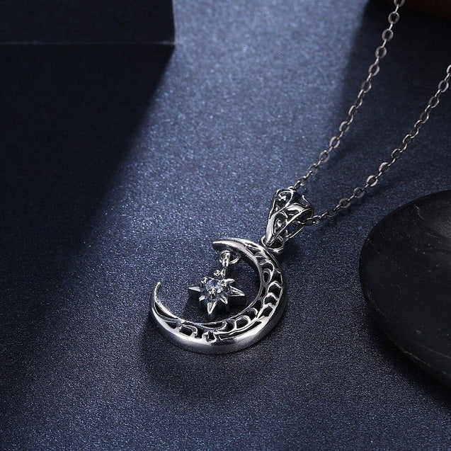 Sterling Silver Crescent Moon and North Star Pendant Necklace