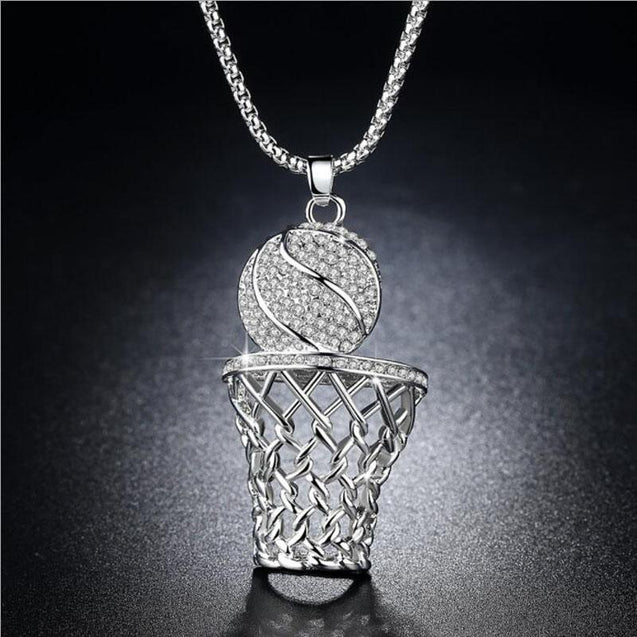 Sterling Silver Crystal Basketball Hoop Pendant Necklace - InnovatoDesign