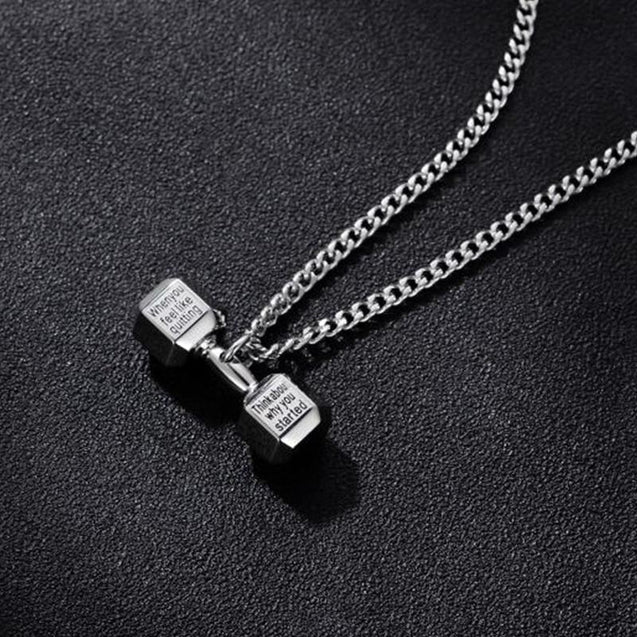 Stainless Steel Dumbbell Weight Pendant Chain Necklace
