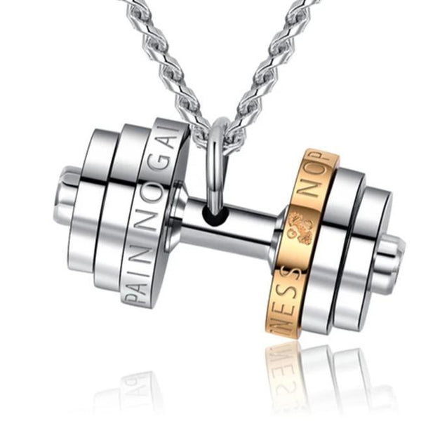 Stainless Steel Multiple Weight Dumbbell Pendant with Engraving