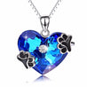 925 Sterling Silver Blue Heart of Ocean Crystal Pendant with Paw Prints