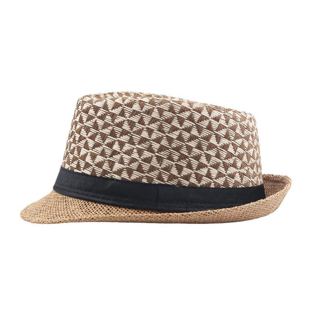 Triangle Lattice Straw Panama Trilby Hat with Black Hatband