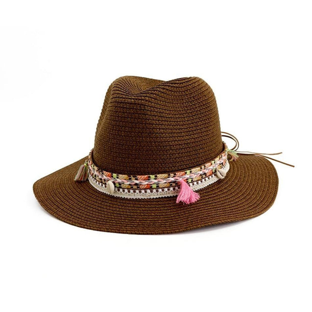 Straw Panama Hat with Tassels and Puka Shells