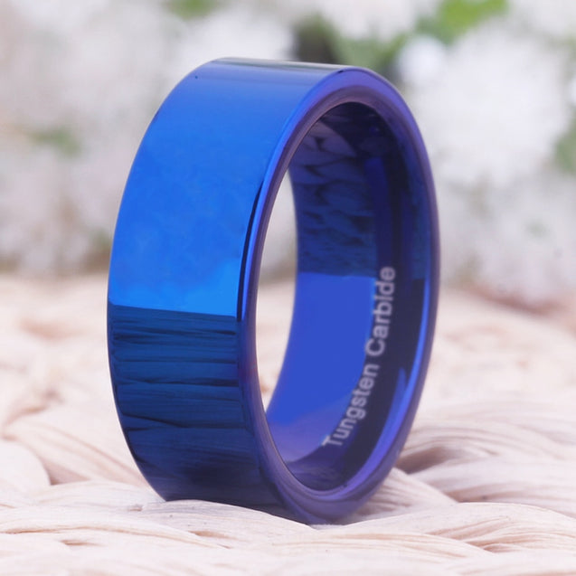 8mm Shiny Blue Pipe Tungsten Carbide Fashion Wedding Ring