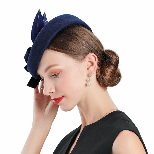 Blue Wool Pillbox Fascinator Hat with Blue Feathers