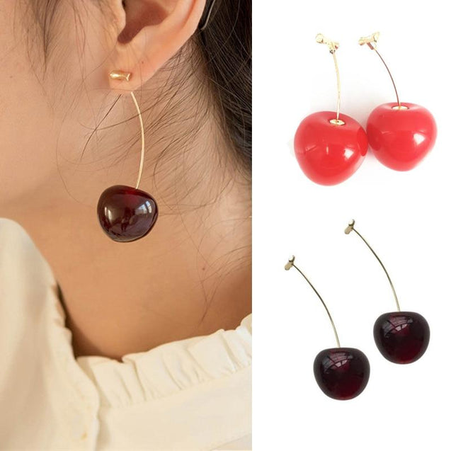 Realistic Red Cherry Drop Earrings
