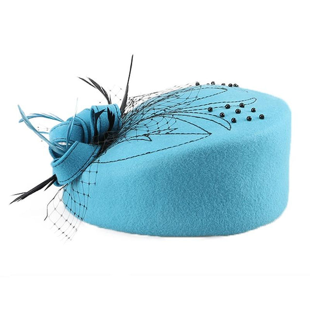 Wool Pillbox Fascinator Hat with Netted Veil, Flower, Feathers and Beads