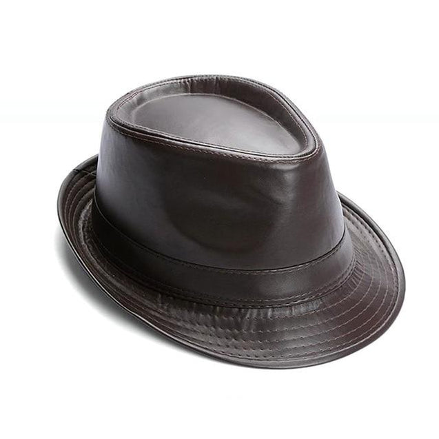 British Style Short Brim Faux Leather Trilby Hat