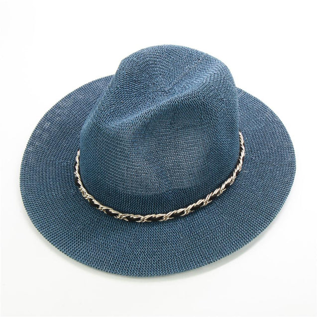 Panama Hat with Luxury Metal Chain