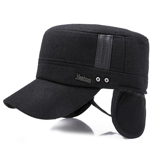 Buckled Cotton Felt Military Hat with Earflaps