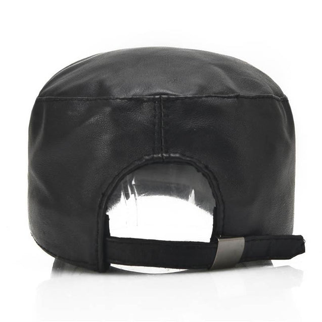 Black Genuine Sheepskin Leather Military Hat with Zipper Design