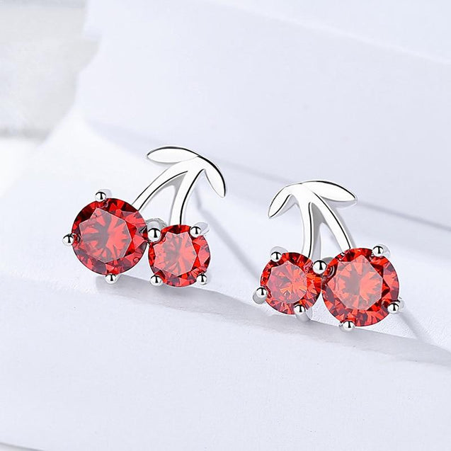 Korean Sweet Cherry Stud Earrings 925 Sterling Silver