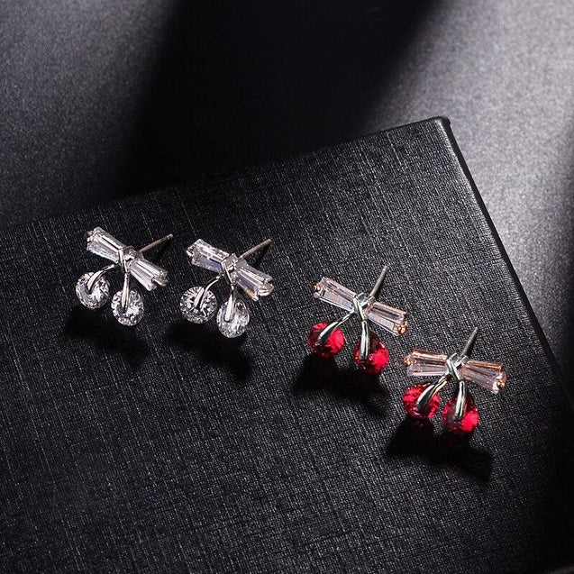 Korean Red/White & Silver Cherry Earrings with Classic Cubic Zirconia