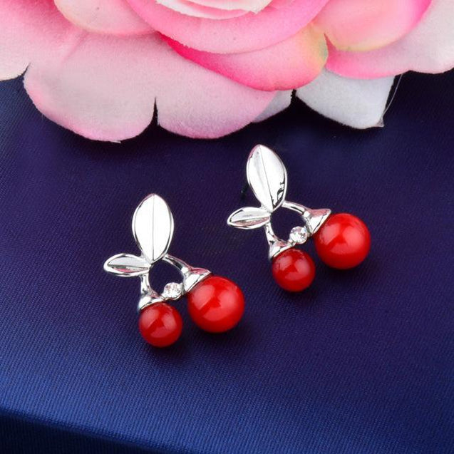 Silver Leaves & Red Cherry Stud Earrings