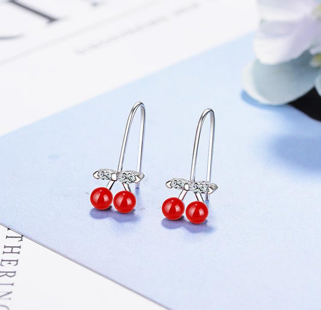 Zirconia Crystal Red Cherry Silver Stud Earrings