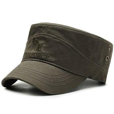 Buckled Cotton Military Hat with Eagle Embroidery Logo