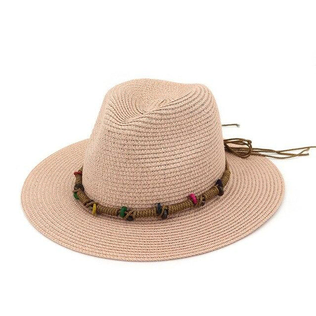 Vintage Ethnic Straw Panama Hat with Colorful Buttons Bow