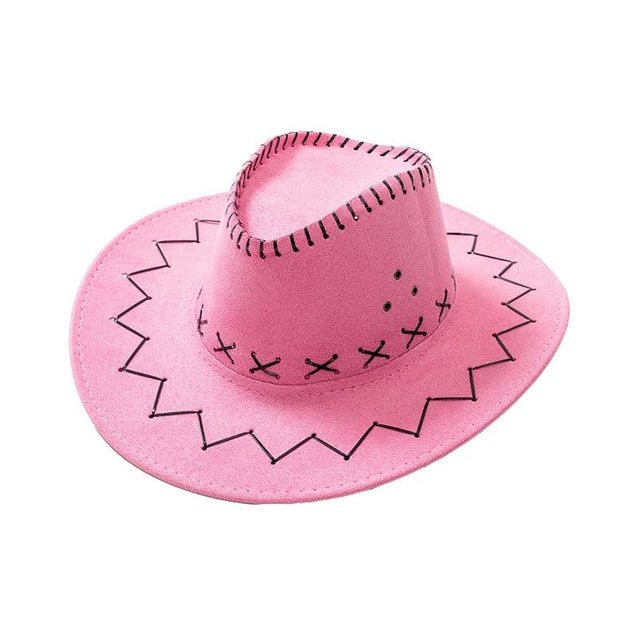 Mom & Daughter Retro Stitched Pattern Cowboy Hat with Adjustable Chin Tie