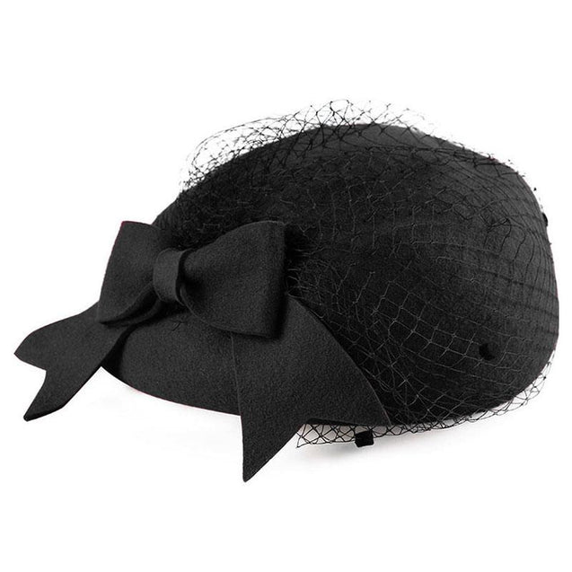 Wool Pillbox Fascinator Hat with Netted Veil and Bowknot