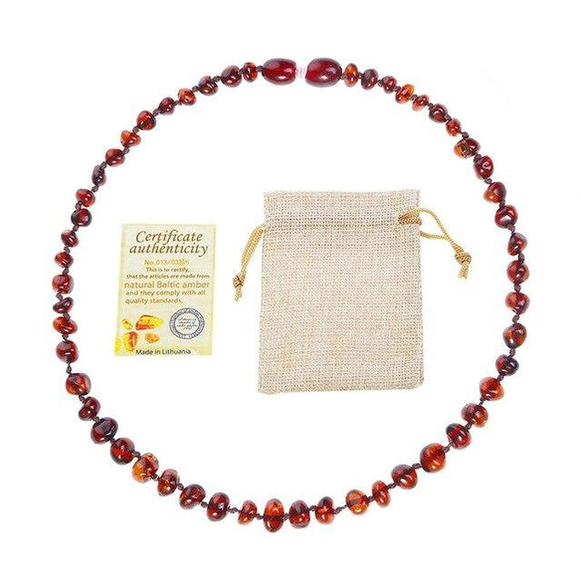 Natural Amber Stone Bead Baby Accessory Necklace