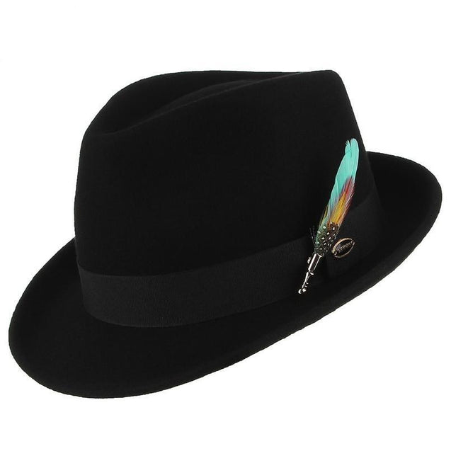 Wool Fedora Trilby Hat with Multicolored Feather on Black Hatband
