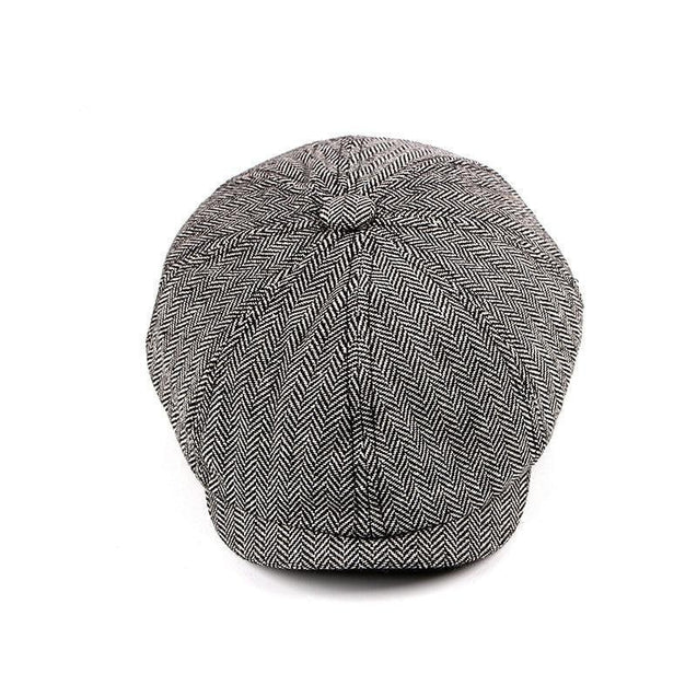 Retro Tweed Herringbone Octagonal Newsboy Cap