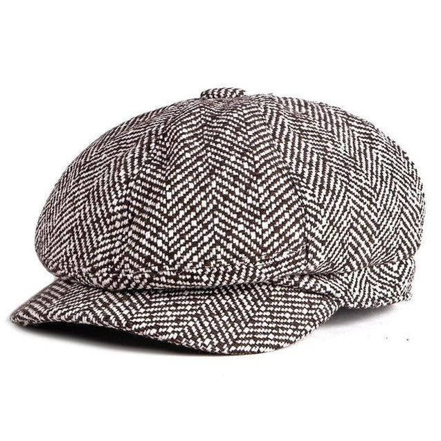 Tweed Herringbone Octagonal Newsboy Cap with a Button