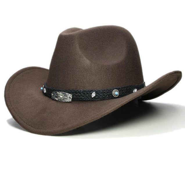 Scorpion Wool Ranchero Cowboy Hat with Turquoise and Crystal Beads on Braided Band