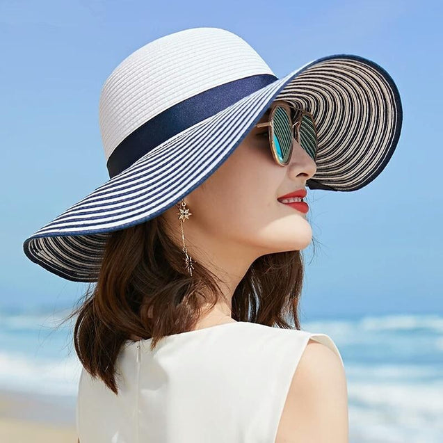 Black, Blue and White Striped Straw Sun Floppy Hat with Bowknot