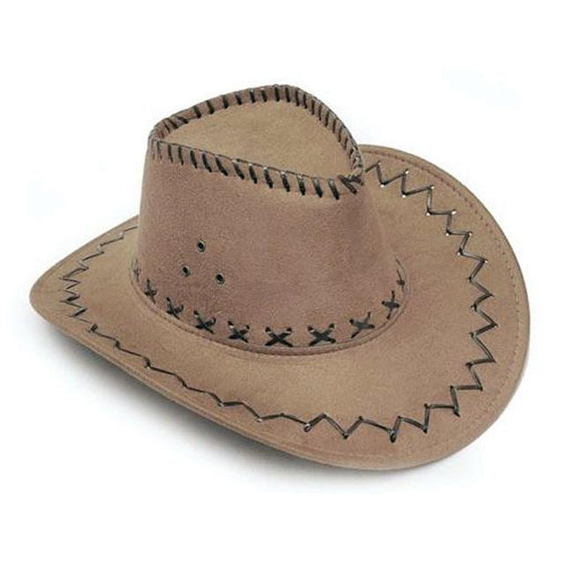 Suede Stitched Sombrero Cowboy Hat with Adjustable Chin Tie